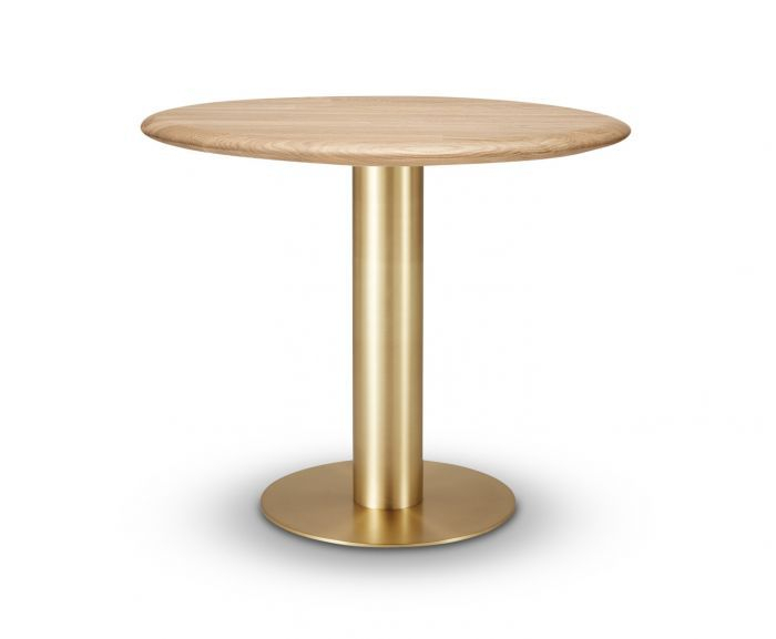 Tube Dining Table Brass Natural Oak Top 900Mm Intended For Most Popular Fumed Oak Dining Tables (#16 of 20)