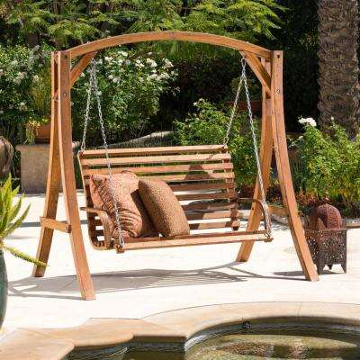 Inspiration about Tulip 76In. 2 Person Teak Stained Wood Patio Swing Within 2 Person Black Wood Outdoor Swings (#13 of 20)