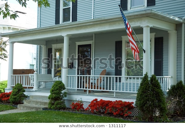 Inspiration about Typical Front Porch Home Small Town Stockfoto (Jetzt Regarding American Flag Porch Swings (#20 of 20)