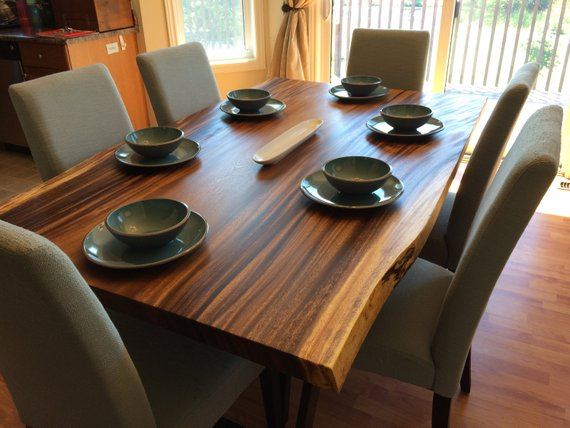 Inspiration about Unique Acacia Wood Dining Tables Regarding Latest Live Edge Dark Acacia Wood Dining Table (#7 of 20)