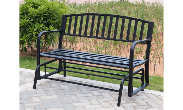 Inspiration about Up To 23% Off On Black Steel Patio Garden Park | Groupon Intended For Black Steel Patio Swing Glider Benches Powder Coated (#3 of 20)