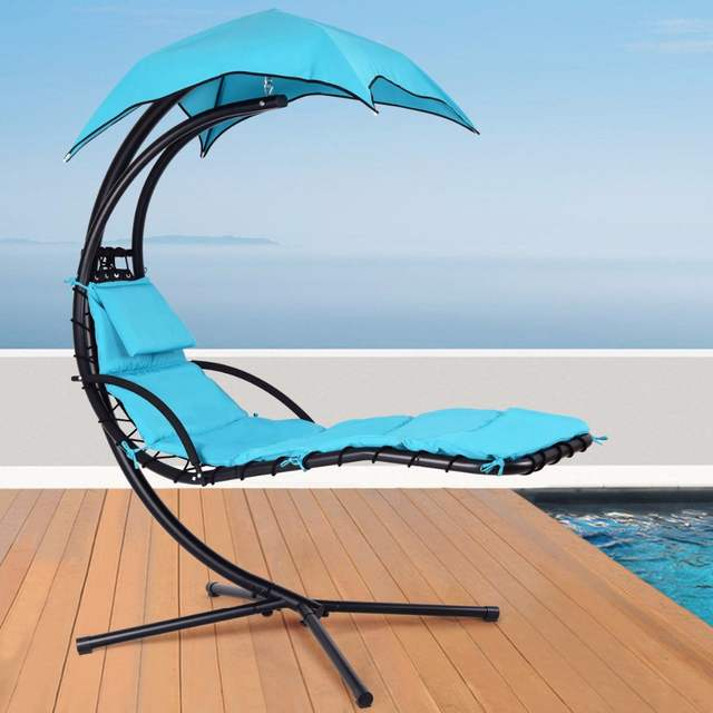 Inspiration about Us $169.99 |Giantex Hanging Chaise Lounger Chair Arc Stand Porch Swing  Hammock Chair W/ Canopy Blue Outdoor Furniture Op3460Bl On Aliexpress In Outdoor Pvc Coated Polyester Porch Swings With Stand (#19 of 20)