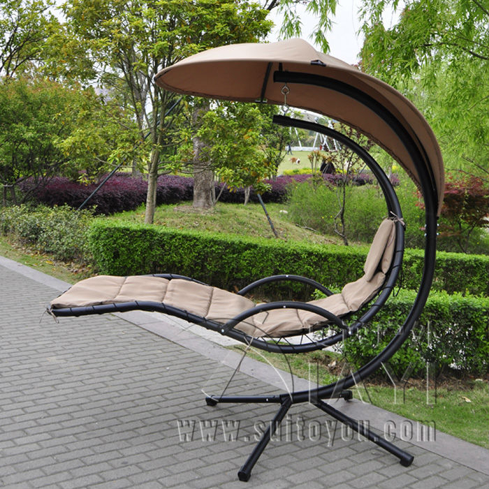 Inspiration about Us $239.0 |Hanging Chaise Lounger Chair Arc Stand Air Porch Swing Hammock  Chair Canopy In Patio Swings From Furniture On Aliexpress In Canopy Porch Swings (#8 of 20)