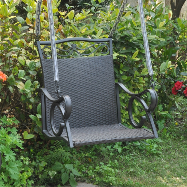 Valencia Resin Wicker Hanging Porch Swing Inside 2 Person Hammered Bronze Iron Outdoor Swings (View 2 of 20)