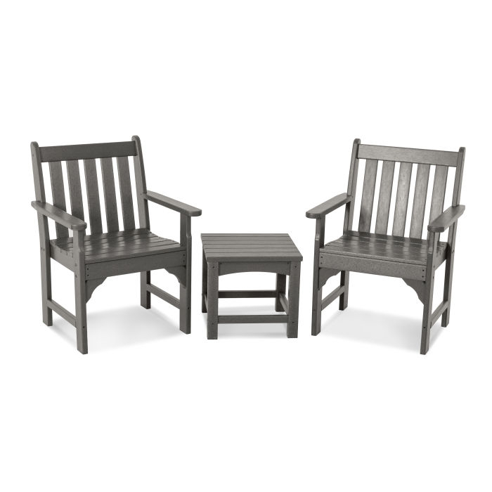 Vineyard 3 Piece Garden Chair Set Throughout Vineyard 2 Person Black Recycled Plastic Outdoor Swings (View 17 of 20)