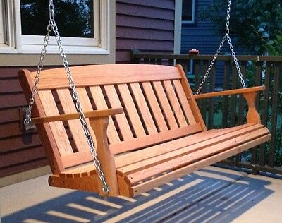 Vintage Oak Arts & Crafts Wood Porch Swing/ Stand ~5 Ft Intended For 5 Ft Cedar Swings With Springs (View 13 of 20)