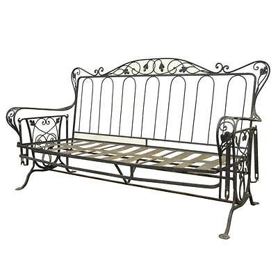 Vintage Wrought Iron Outdoor Patio Glider Swing Sofa Inside Iron Grove Slatted Glider Benches (View 19 of 20)