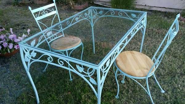 Vintage Wrought Iron Patio Set – $150 | Iron Patio Furniture Within 1 Person Antique Black Iron Outdoor Swings (#19 of 20)