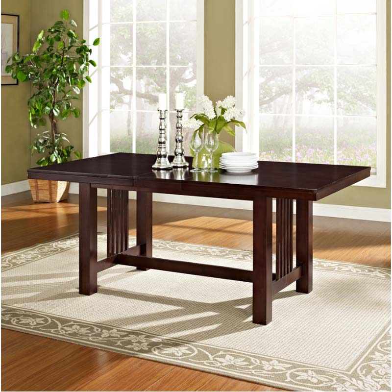 Walker Edison Dining Table With Removable Center Leaf (Cappuccino) Tw60Mcno Intended For Well Known Wood Kitchen Dining Tables With Removable Center Leaf (View 2 of 20)