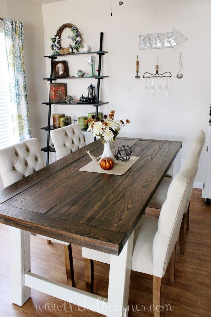Walnut And Antique White Finish Contemporary Country Dining Tables Inside Most Popular Diy Farmhouse Style Dining Table (#15 of 20)