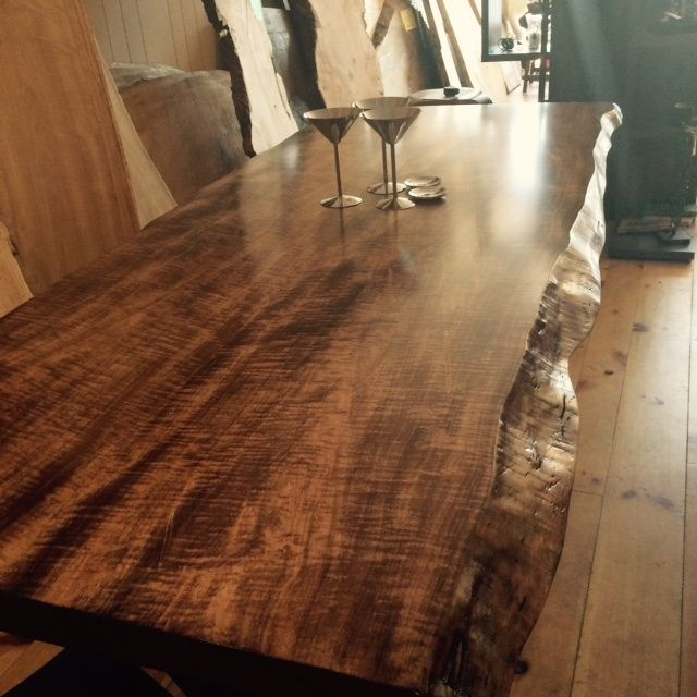 Walnut Finish Live Edge Wood Contemporary Dining Tables Regarding Current Www (View 15 of 20)