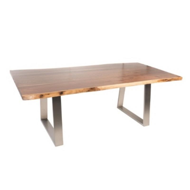 "Walnut Finish Live Edge Wood Contemporary Dining Tables Regarding Favorite Live Edge North American Walnut Dining Table, 84"", Satin Walnut Finish (#15 of 20)"