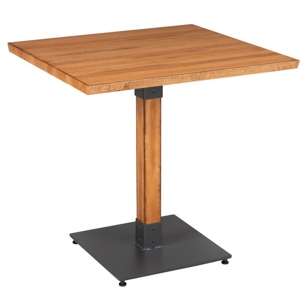 """Walnut Finish Live Edge Wood Contemporary Dining Tables With Regard To Most Current Lancaster Table & Seating 30"""" Square Solid Wood Live Edge Dining Height  Table With Antique Natural Finish (#17 of 20)"""