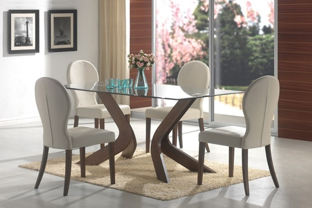 Walnut Rectangular Glass Top Dining Table Set Pertaining To Most Recent Rectangular Glass Top Dining Tables (#19 of 20)