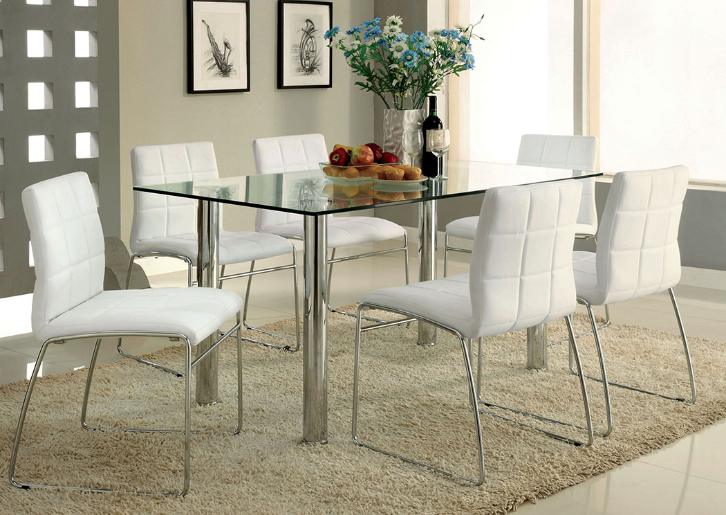 Well Known Best Buy Furniture And Mattress Oahu Chrome Glass Top Dining With Chrome Contemporary Square Casual Dining Tables (#17 of 20)