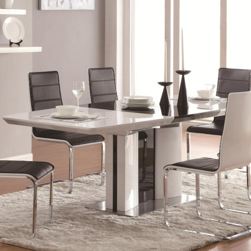 Well Known Broderick Contemporary White Rectangular Dining Table With Chrome Base Pertaining To Contemporary Rectangular Dining Tables (View 12 of 20)
