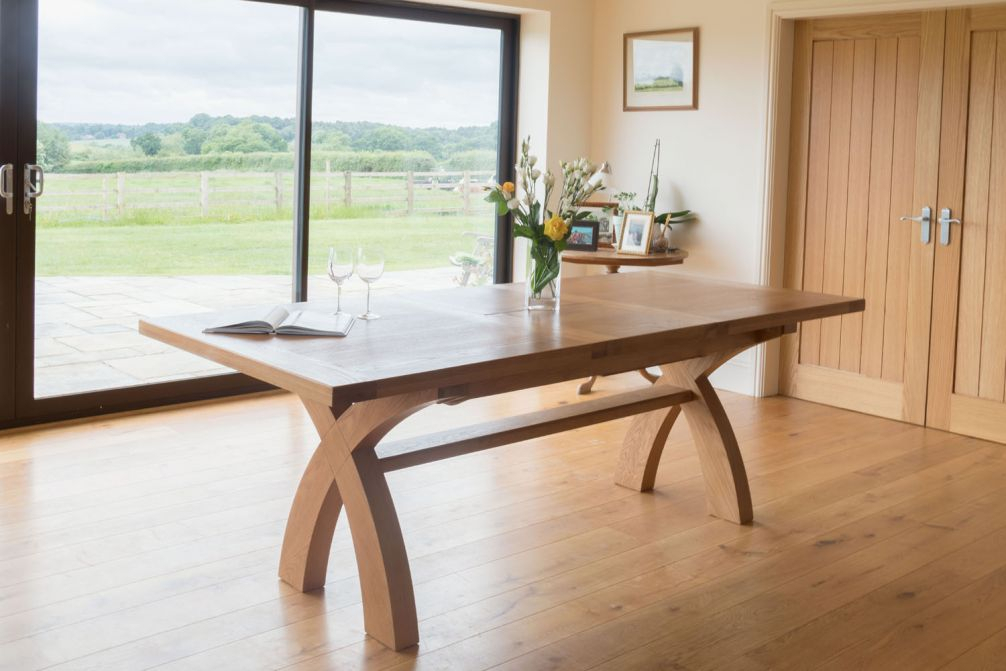 Well Known Extension Dining Tables With Regard To 180Cm To 230Cm Country Oak Cross Leg Extending Table – Winter Sale (View 8 of 20)