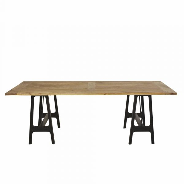 Well Known Iron Dining Tables With Mango Wood Throughout Cast Iron And Mango Wood 8 10 Seater Dining Table (#20 of 20)
