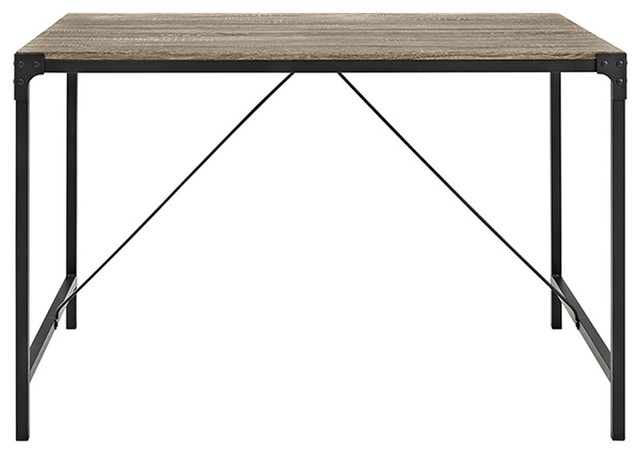 "Well Known Iron Wood Dining Tables With Metal Legs Intended For 48"" Angle Iron Wood Dining Table, Driftwood (View 20 of 20)"
