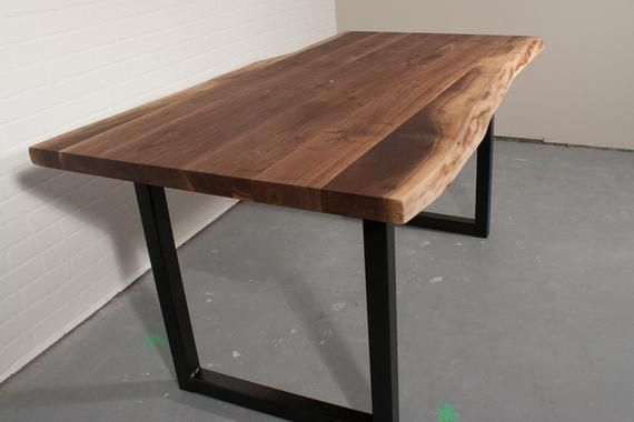 Well Known Live Edge Natural Walnut Dining Table On Square Steel Legs In Walnut Finish Live Edge Wood Contemporary Dining Tables (#18 of 20)