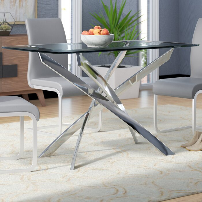 Well Known Modern Dining Tables For Coraline Glass Top Modern Dining Table (#16 of 20)