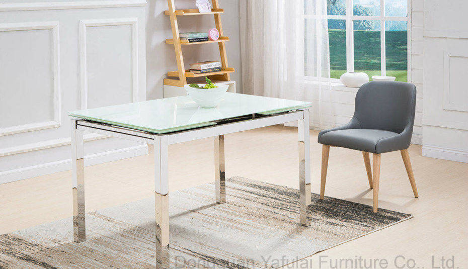 Well Known Modern Glass Top Extension Dining Tables In Stainless With Regard To Glass And Metal Dining Tables Modern Extension White Table (#19 of 20)