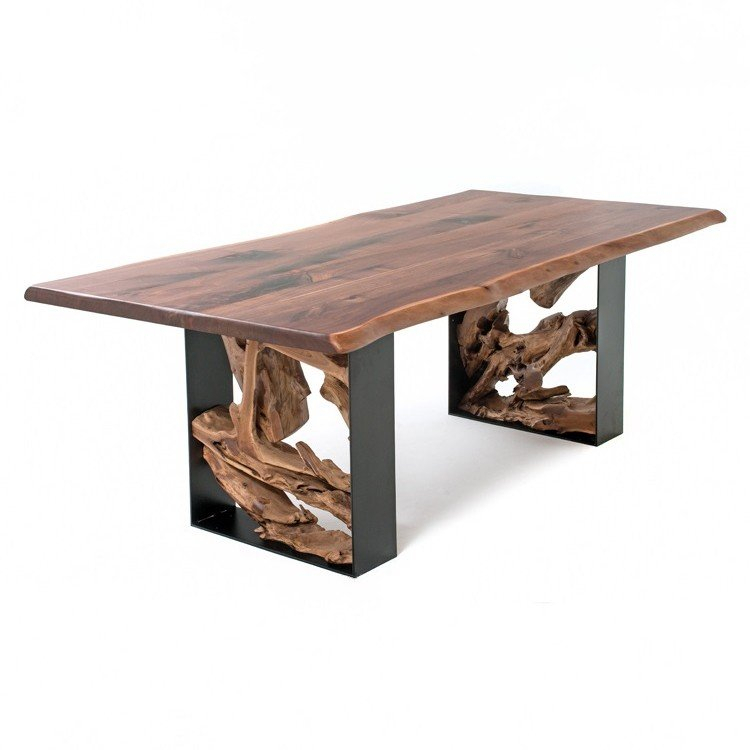 Well Known Modern Rustic Live Edge Table Dt01052 Intended For Walnut Finish Live Edge Wood Contemporary Dining Tables (#19 of 20)