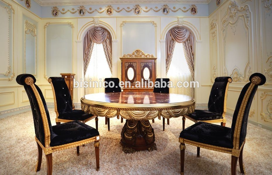 Well Known Neo Round Dining Tables With Regard To French New Design Neo Classic Marquetry Dining Room Furniture/ Gorgeous Wooden Carving Royal Round Dining Table Set For 6 People – Buy Neo Classic (View 14 of 20)