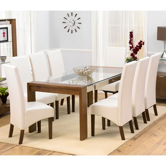 Well Known Rectangular Glass Top Dining Tables Regarding Arturo Rectangle Walnut Glass Top Dining Table And 8 Wng (#20 of 20)