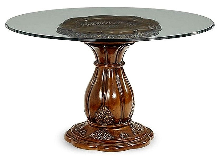 """Well Known Round Glass Top Dining Tables For Aico Lavelle Melange 54"""" Round Glass Top Dining Table 54001 34/54101 (View 13 of 20)"""
