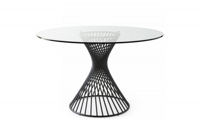 Well Known Round Glass Top Dining Tables In Calligaris Vortex – Cs/4108 Rd 120Cm Ø Dining Table With Glass Top And Matt Black Frame (View 6 of 20)
