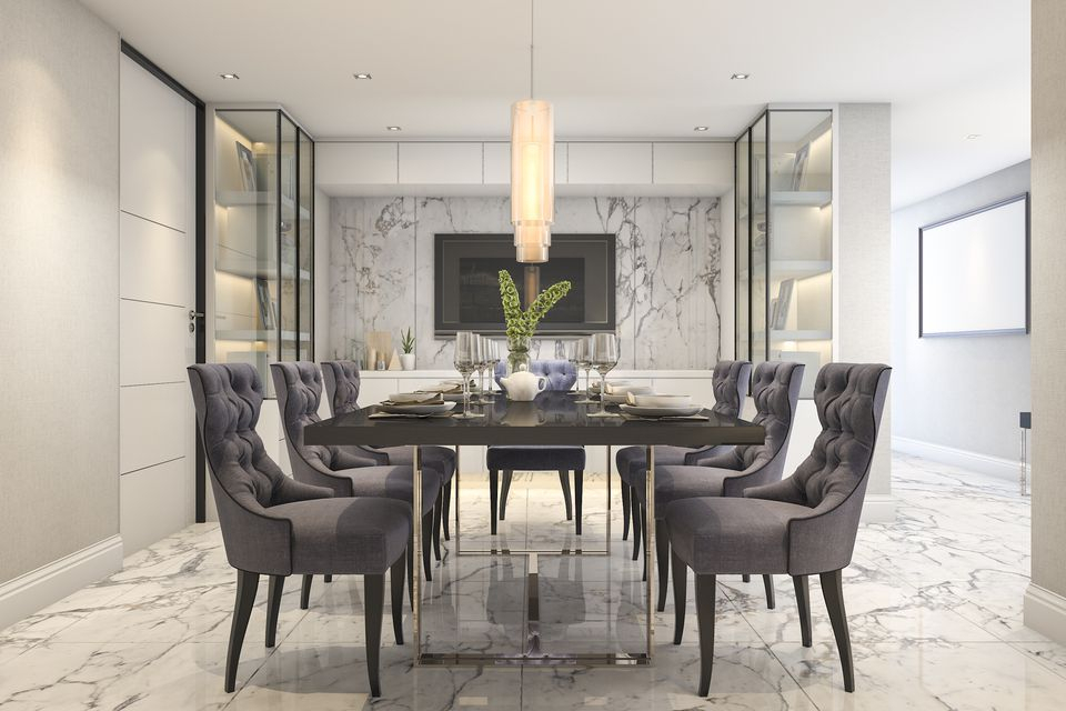 Well Known Rustic Mid Century Modern 6 Seating Dining Tables In White And Natural Wood Inside 25 Gray Dining Room Design Ideas (#18 of 20)