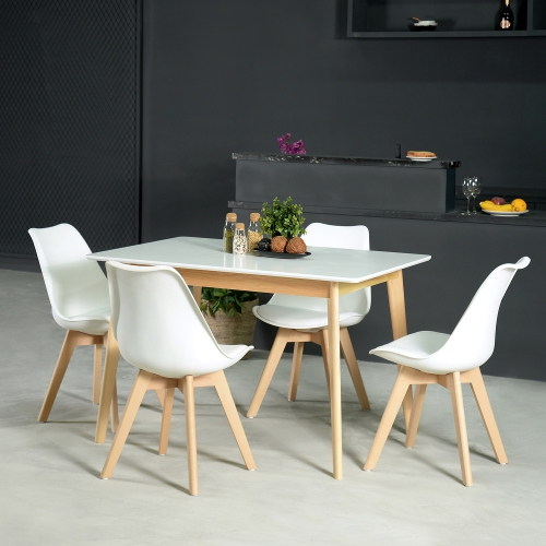 Popular Photo of Rustic Mid Century Modern 6 Seating Dining Tables In White And Natural Wood