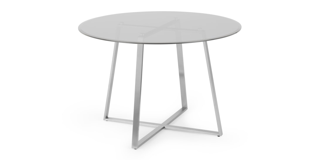 Well Known Smoked Oval Glasstop Dining Tables With Regard To Haku 4 Seat Round Dining Table, Brushed Stainless Steel And (View 14 of 20)