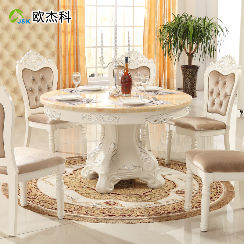Well Known Solid Wood Circular Dining Tables White Throughout Oujie Ke Continental Combination Of Solid Wood Dining Tables (View 2 of 20)