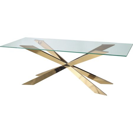 Well Known Star Modern Tempered Glass Dining Table With Gold Base 60 For Modern Gold Dining Tables With Clear Glass (#21 of 21)
