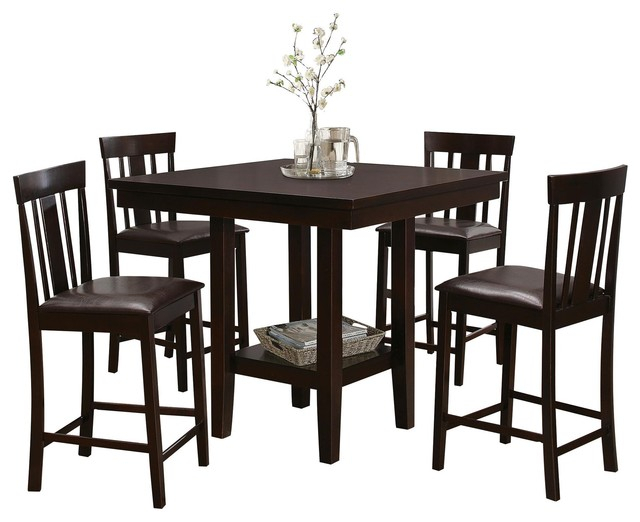 Well Known Transitional Antique Walnut Square Casual Dining Tables Throughout 5 Piece Delmont Modern Counter Height Dining Set Table, 4 Chair, Espresso (View 10 of 20)