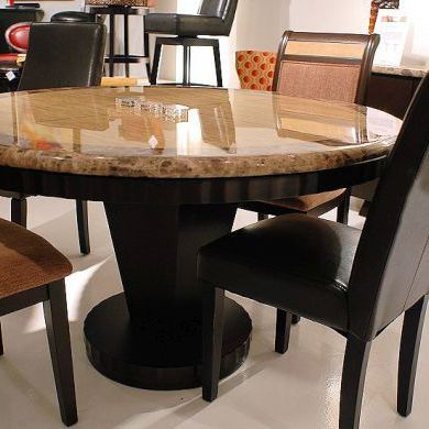 Well Known Wood And Granite Stone Dining Table Set In Round Shape For Wood Top Dining Tables (#11 of 20)