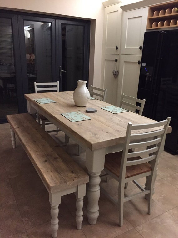 Well Known Wood Top Dining Tables Throughout Farmhouse Dining Table With Reclaimed Wood Top And Bench, Made To Measure In Any Size, Shabby Chic Farrow & Ball Painted 6 Or 8 Seater (View 13 of 20)