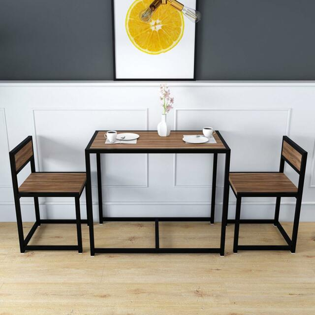 Well Liked 3 Pieces Dining Tables And Chair Set With Clive 3 Piece Dining Table & Chairs Set In Walnut Colour With Black Steel  Frame (View 21 of 21)