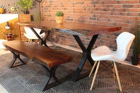 Well Liked Acacia Dining Tables With Black Legs Regarding Live Edge Acacia Dining Table With Black X Legs/honey Walnut (View 4 of 20)