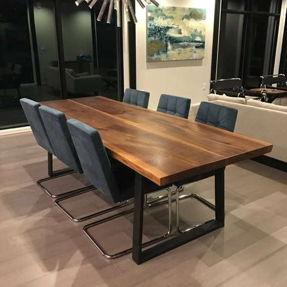 Well Liked Beautiful Live Edge Dining Table Walnut With Modern Steel With Walnut Finish Live Edge Wood Contemporary Dining Tables (#20 of 20)