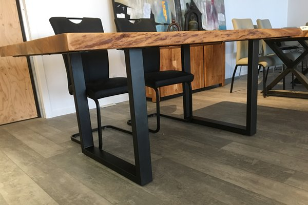 Well Liked Corcoran Acacia Live Edge Dining Table With Black U Legs Regarding Dining Tables With Black U Legs (View 19 of 20)