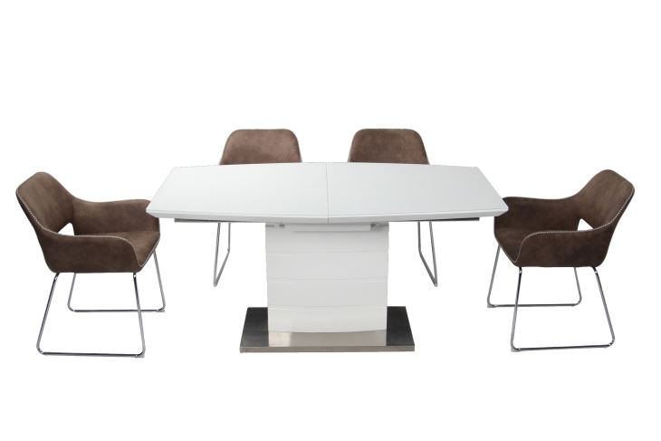 Well Liked Customized Dining Extension Table Mdf Top Covered10Mm Inside Dining Tables With Brushed Stainless Steel Frame (#18 of 20)