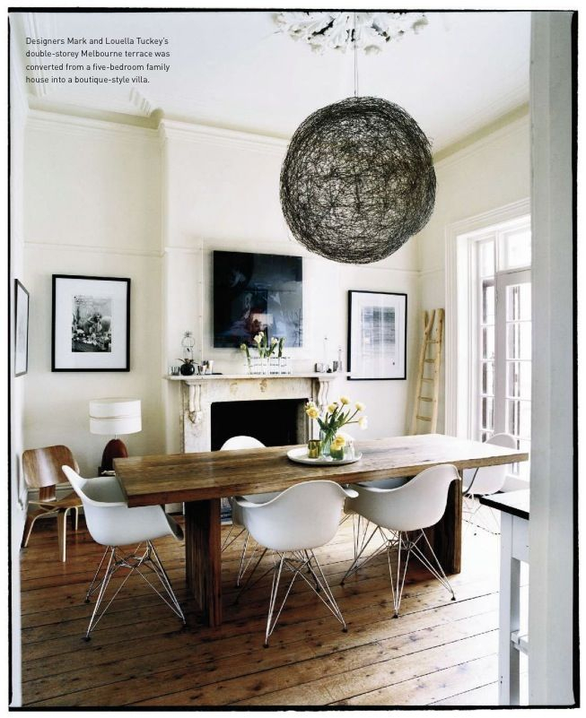 Well Liked Dining Room With Farmhouse Table And White, Mid Century Within Rustic Mid Century Modern 6 Seating Dining Tables In White And Natural Wood (View 20 of 20)