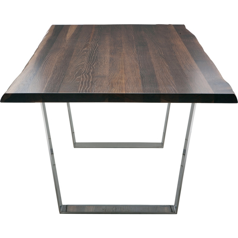 """Well Liked Dining Tables In Seared Oak Within Versailles 78"""" Dining Table W/ Seared Oak Top & Polished Stainless Legs Nuevo Modern Furniture (#20 of 20)"""
