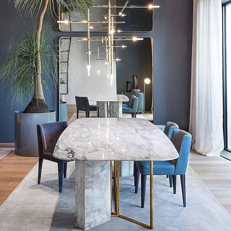 "Well Liked Faux Marble Finish Metal Contemporary Dining Tables Inside Modern Stylish 63"" / 71"" / 79"" White Faux Marble Dining Table Rectangular  Table In Brushed Gold (#19 of 20)"