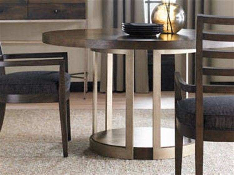 Well Liked Fumed Oak Dining Tables Throughout Caracole Modern Artisans Dark Fumed Oak With Matte Gold 54'' Wide Round  Pedestal Dining Table (#18 of 20)