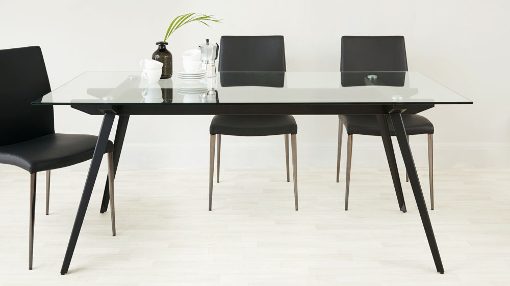 Well Liked Glass Dining Tables With Metal Legs Throughout Neo 6 To 8 Seater Glass Dining Table (#19 of 20)