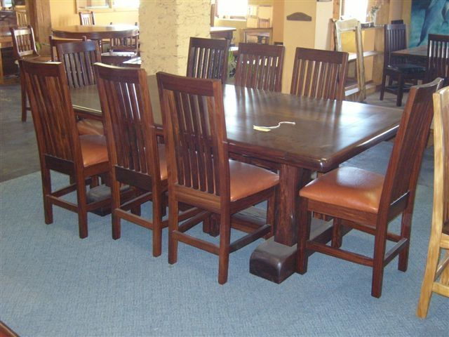 Well Liked Iron Wood Dining Tables Pertaining To Custom 8 Seat Ironwood Dining Table Setafrican Yellowood (View 20 of 20)